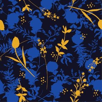 Flores de patrones sin fisuras silueta de noche oscura