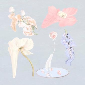 Flores, pegatinas, vector, psicodélico, pastel, arte abstracto, conjunto