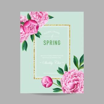 Flores de peonía de diseño floral de primavera y verano