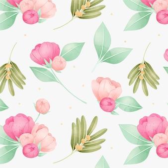 Flores de peonía rosa acuarela patrón floral