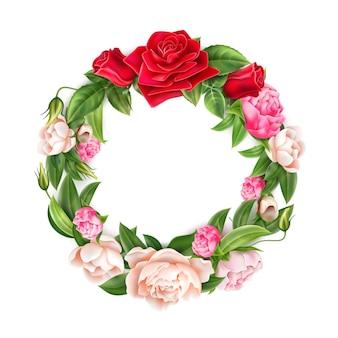 Flores de peonía rosa roja, blanca y rosa realistas en un elegante patrón de corona