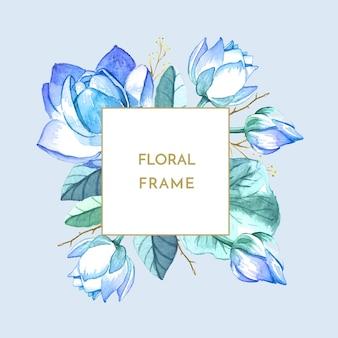 Flores pintadas a mano marco acuarela