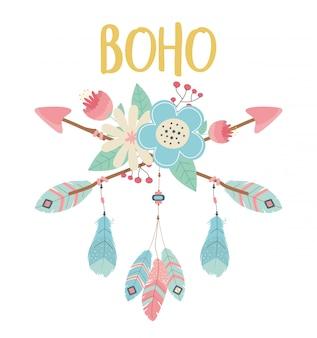 Flores y plumas con flechas decoradas al estilo boho
