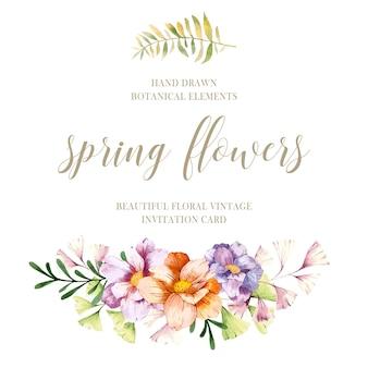 Flores de primavera de acuarela