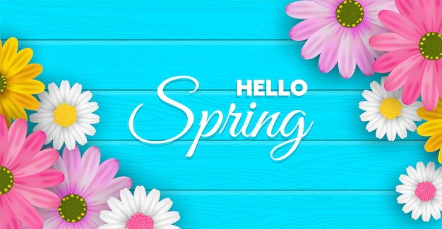 Flores de primavera en banner de mesa de madera azul