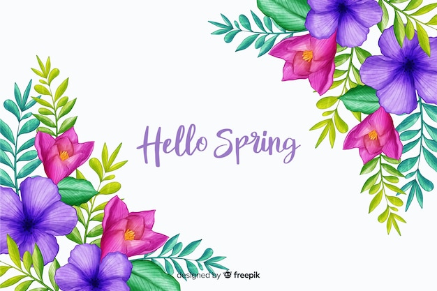Flores de primavera con cita de saludo