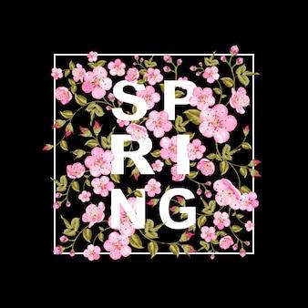Flores de primavera en marco moderno