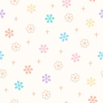 Flores de primavera de margarita en el diseño de fondo pastel de patrones sin fisuras.