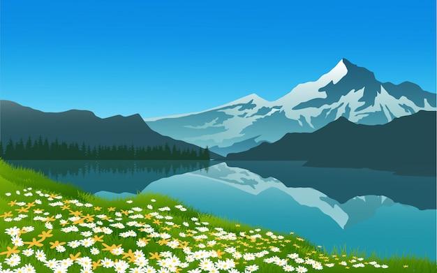 Flores de primavera con paisaje de montaña