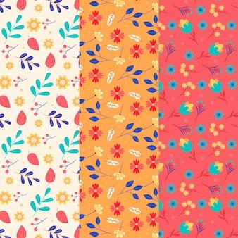 Flores de primavera retro y hojas de patrones sin fisuras
