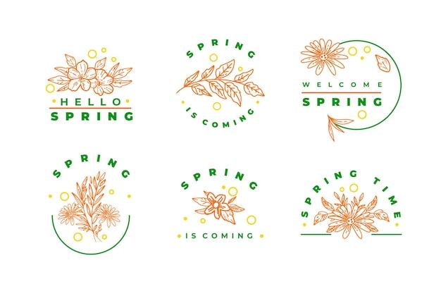 Flores de primavera rosadas y colección de insignias de letras verdes