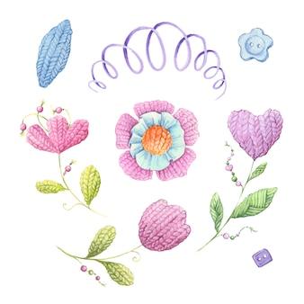 Flores de punto de acuarela y accesorios de tejer. ilustración vectorial