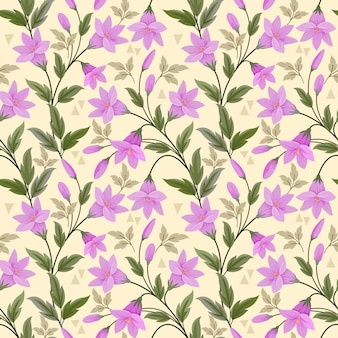 Flores púrpuras en amarillo de patrones sin fisuras para papel tapiz textil tela.