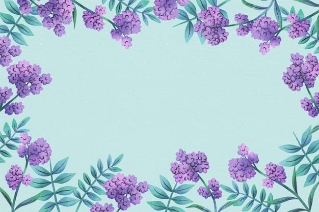 Flores púrpuras espacio de copia fondo floral