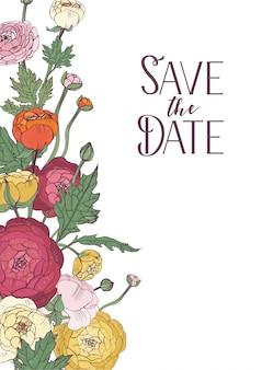 Flores de ranunculus vacaciones, diseño de invitación de boda.