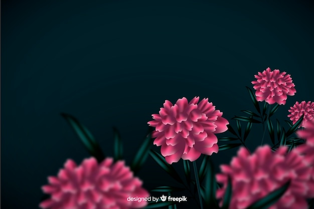 Flores realistas sobre un fondo oscuro