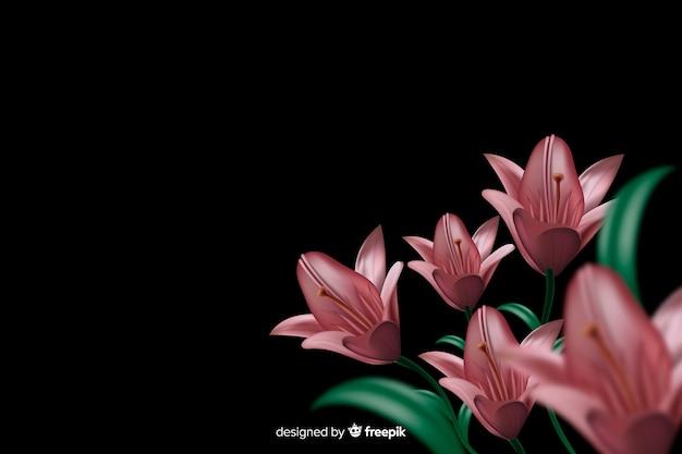Flores realistas sobre fondo oscuro