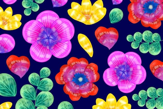 Flores rojas y violetas con fondo de hojas exóticas