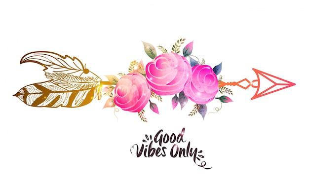 Flores rosadas de la acuarela con la flecha étnica. ilustración creativa del estilo de boho.