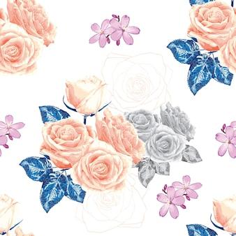 Flores rosas color de rosa de patrones sin fisuras.