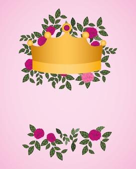 Flores rosas con decoración de corona reina.