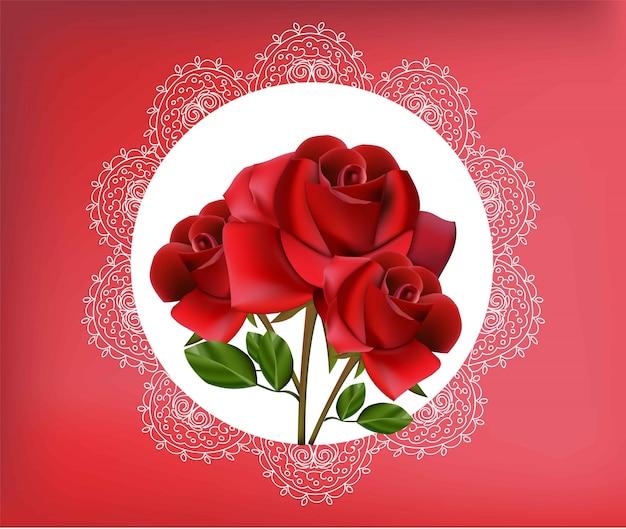 Flores rosas rojas en marco de encaje vintage