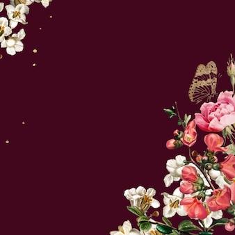 Flores de san valentín elegantes vector frontera acuarela sobre fondo rojo