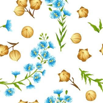 Flores y semillas de lino de patrones sin fisuras.