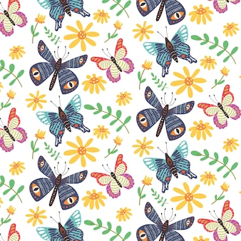 Flores silvestres de mariposas brillantes de patrones sin fisuras