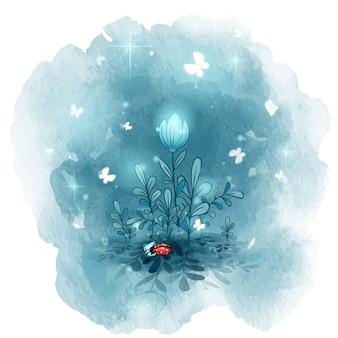 Flores silvestres nocturnas bajo las cuales duerme una pequeña mariquita. postal de buenas noches.