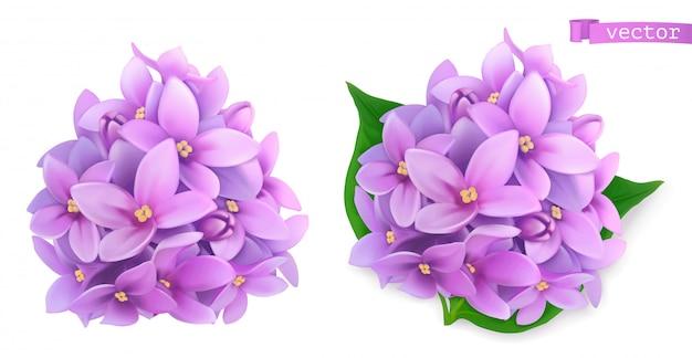 Flores de siringa, lila. icono realista 3d