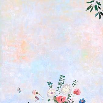 Flores sobre lienzo pastel.