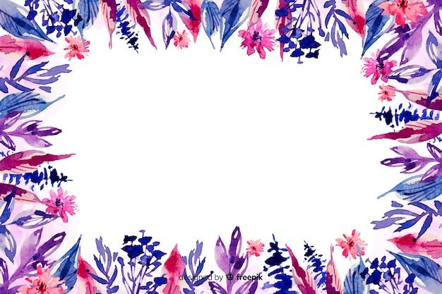 Flores en sombra violeta acuarela fondo floral
