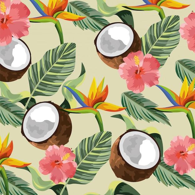 Flores tropicales con coco y hojas de fondo.