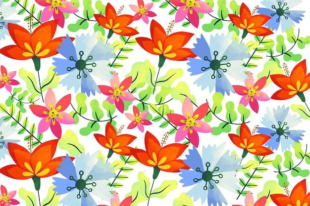 Flores tropicales coloridas naturales y fondo de hojas