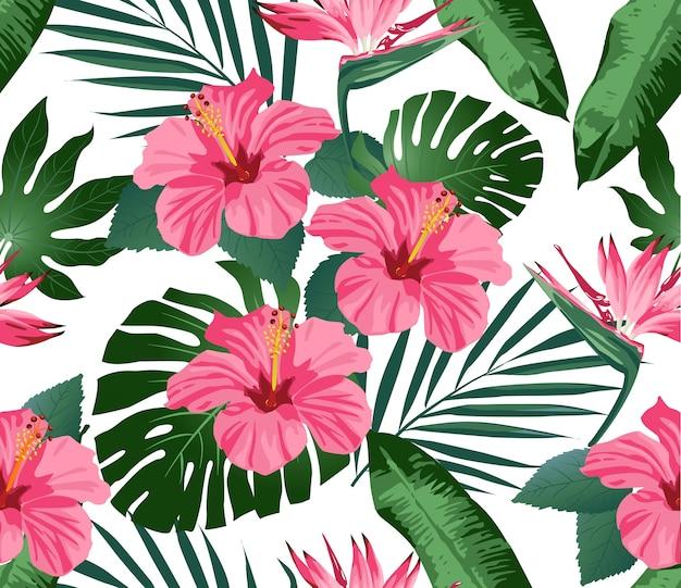Flores tropicales y hojas en el fondo. sin costura. imprimir moda. vector.