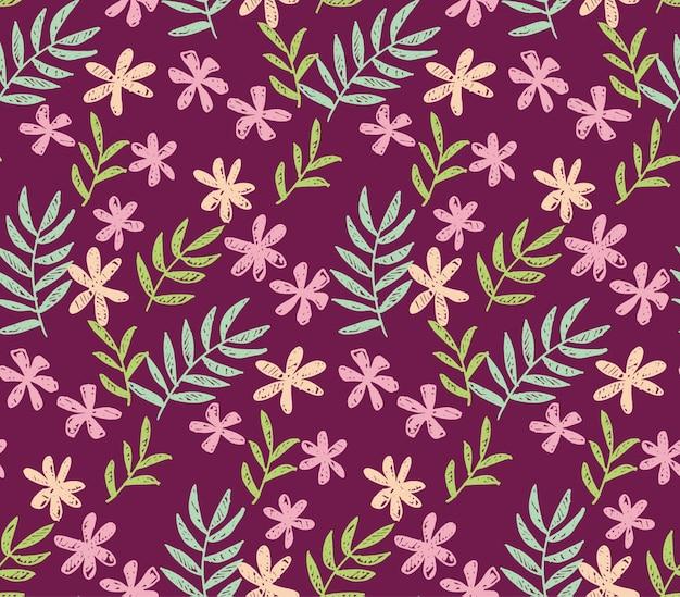 Flores tropicales patrón sin costuras en color rojo intenso.