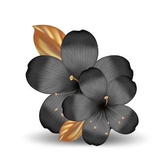 Flores tropicales realistas hawaianas negras y doradas