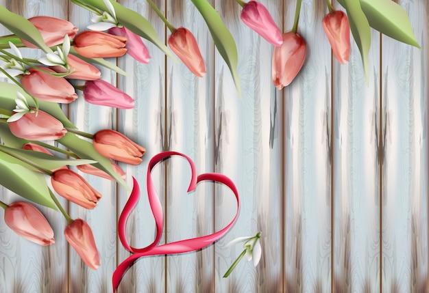 Flores de tulipanes en acuarela de textura de madera