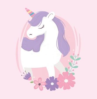Flores de unicornio fantasía magia sueño lindo etiqueta rosa fondo ilustración