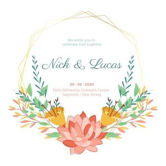 Flores de verano en guardar el marco de boda de fecha