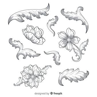 Flores vintage barrocas realistas dibujadas a mano
