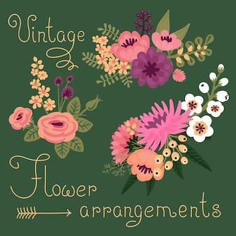 Flores vintage linda flor para el diseño