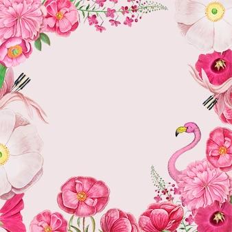 Flores vintage y vector de marco de frontera de flamenco rosa