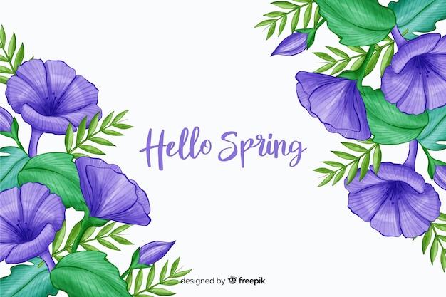 Flores violetas con cita de primavera hola púrpura