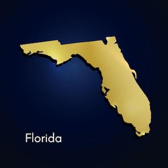 Florida mapa dorado con textura ilustración vectorial