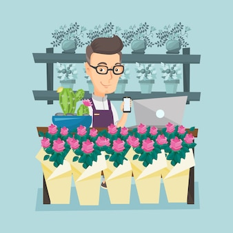 Florista en la ilustración de vector de floristería.