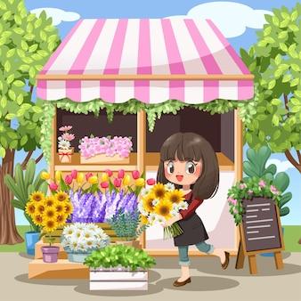 Floristería alegre joven en delantal sosteniendo un ramo de flores