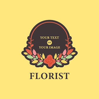 Floristería floral flor marco corona laurel logo icono en plantilla de ilustración de estilo colorido