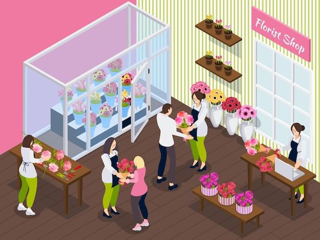 Floristería isométrica con personal que trabaja con diferentes flores y clientes comprando ramos.
